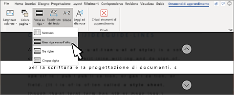 Elenco a discesa Focus su riga nella barra multifunzione e opzione Una riga selezionata