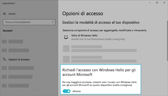 Attivazione dell'opzione che consente di usare Windows Hello per accedere agli account Microsoft.