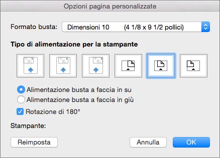 In Opzioni pagina personalizzate selezionare un formato busta e un orientamento per l'avanzamento della busta nella stampante.