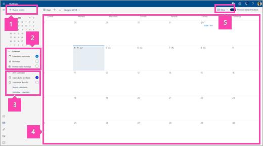 Screenshot dell'interfaccia Calendario
