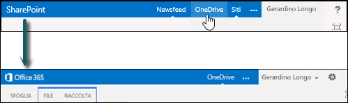 Selezionare OneDrive in SharePoint per passare a OneDrive for Business in Office 365