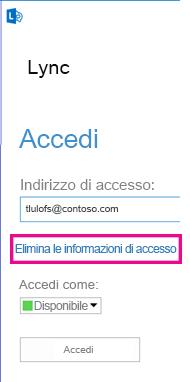Schermata di accesso di Lync con l'opzione Elimina le informazioni di accesso evidenziata