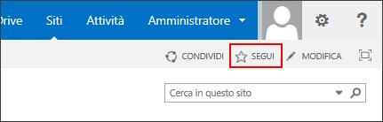 Seguire un sito di SharePoint Online e aggiungere il collegamento alla propria pagina Siti in Office 365.