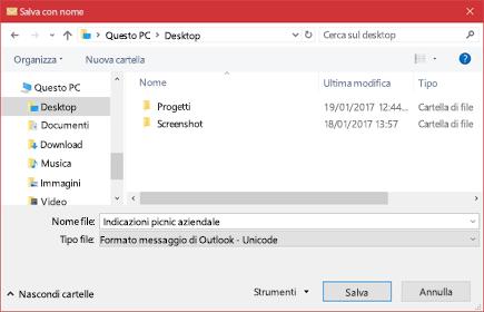 È possibile salvare un messaggio di posta elettronica esistente come file.