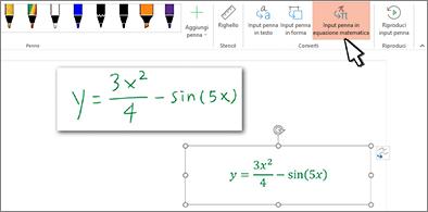 Conversione dell'equazione scritta a mano in testo e numeri formattati
