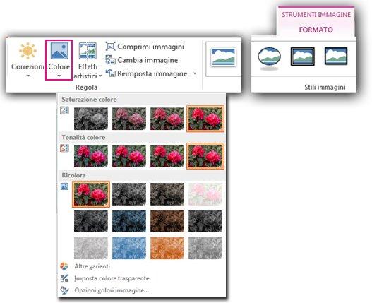 menu del pulsante colore aperto dalla scheda formato in strumenti immagine