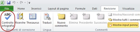 Controllo ortografia nella scheda Home della barra multifunzione di Excel