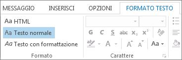 Opzioni relative al formato dei messaggi nella scheda Formato testo