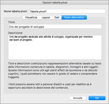 Finestra di dialogo Testo alternativo per una tabella pivot di Excel.
