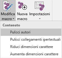 Menu Edit Macros in Onetastic per OneNote