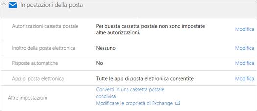 Screenshot: Conversione di una cassetta postale utente in cassetta postale condivisa