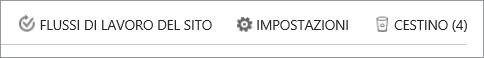 Visualizzazione del pulsante Cestino all'interno di Contenuto del sito.
