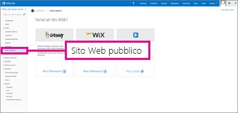 Nella pagina dei partner di Office 365 scegliere Sito Web pubblico