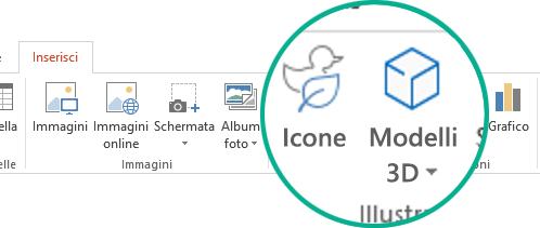 Pulsanti Icone e Modelli 3D nella scheda Inserisci della barra degli strumenti in Office 365