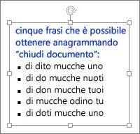 Formattazione in una casella di testo di PowerPoint