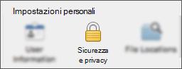 Pulsante Privacy & sicurezza nella finestra di dialogo Preferenze applicazione.