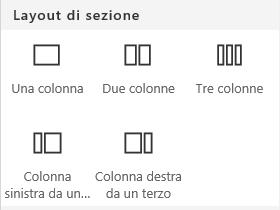 Screenshot del menu Layout di sezione in SharePoint.