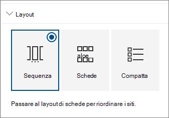 Impostazioni layout Web part per siti