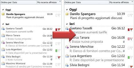 Illustrazione dell'aumento o della riduzione delle dimensioni del tipo di carattere dell'elenco dei messaggi
