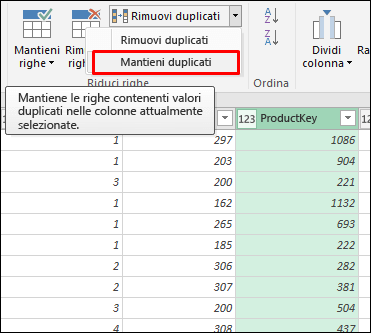 Power Query - Mantenimento dei duplicati