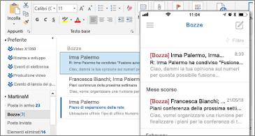 Cartella Bozze su un PC desktop e un telefono