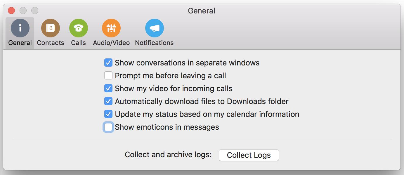 Mostra emoticon nei messaggi di casella di controllo nella pagina Generale della finestra Preferenze