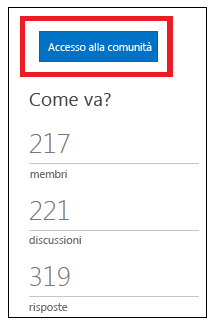 Schermata con il pulsante per l'iscrizione alla community.