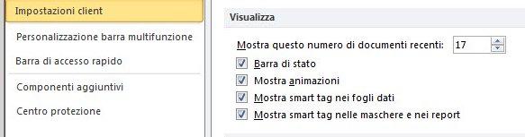 Visualizzazione attiva delle opzioni di impostazione della visualizzazione