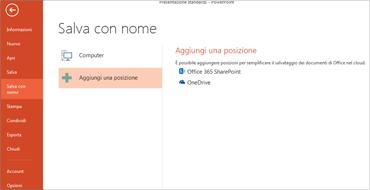 Aggiungere OneDrive come posizione