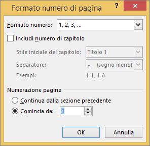 Opzioni della finestra di dialogo Formato numero di pagina.