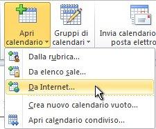 Comando della barra multifunzione per l'apertura di un calendario da Internet