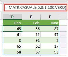 Funzione MATR.CASUALE con argomenti Min, Max e Numero Intero