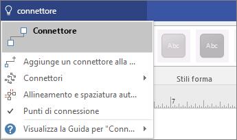 Screenshot del riquadro Che cosa si vuole fare? con i risultati per Connettore.