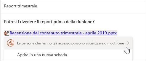Screenshot di un collegamento a un file OneDrive