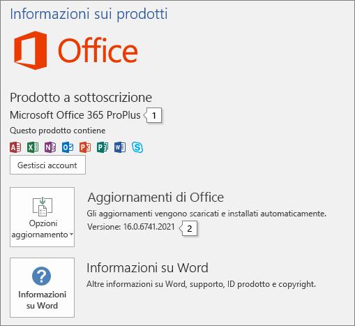 Screenshot della pagina Account con il nome del prodotto Office e il numero di versione completo