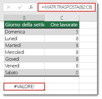 Errore #VALORE! in MATR.TRASPOSTA