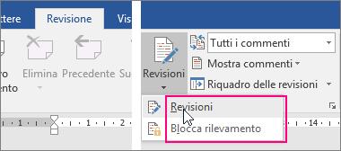 Quando si fa clic sul pulsante Revisioni, vengono evidenziate le opzioni disponibili