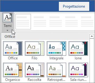 Opzioni per i temi sulla barra multifunzione di Word
