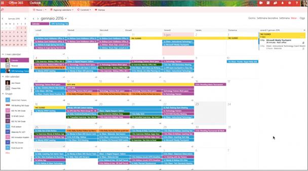 Esempio di calendario di gruppo con codifica a colori per distinguere i vari gruppi