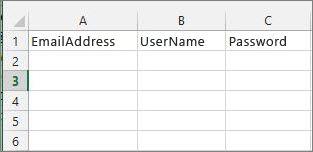 Intestazioni di cella nel file di migrazione di Excel.