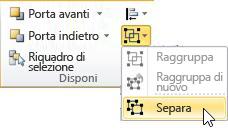 Elenco Raggruppa con l'opzione Separa selezionata