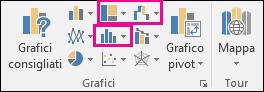 Icone per l'inserimento di grafici gerarchici, a cascata, azionari o statistici in Excel 2016 per Windows