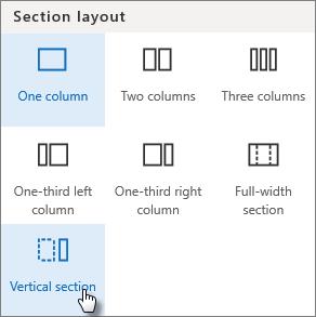Sezione verticale nel riquadro layout di sezione