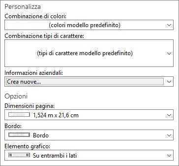 Screenshot delle selezioni in Personalizza e Opzioni in Publisher.