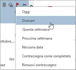 Opzioni di completamento disponibili quando si contrassegna un messaggio
