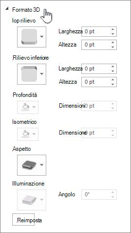 impostazioni del formato 3D