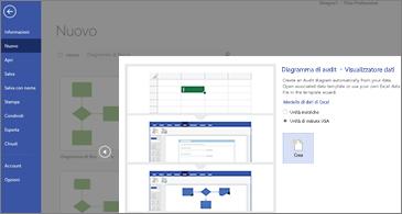 Prima pagina della procedura guidata Modello Diagramma di audit