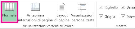 Fare clic su Normale nella scheda Visualizza