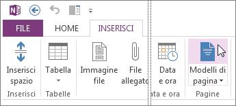 Fare clic sul pulsante Modelli di pagina per visualizzare e usare i modelli.