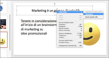 Diapositiva con doppia sottolineatura blu e oro